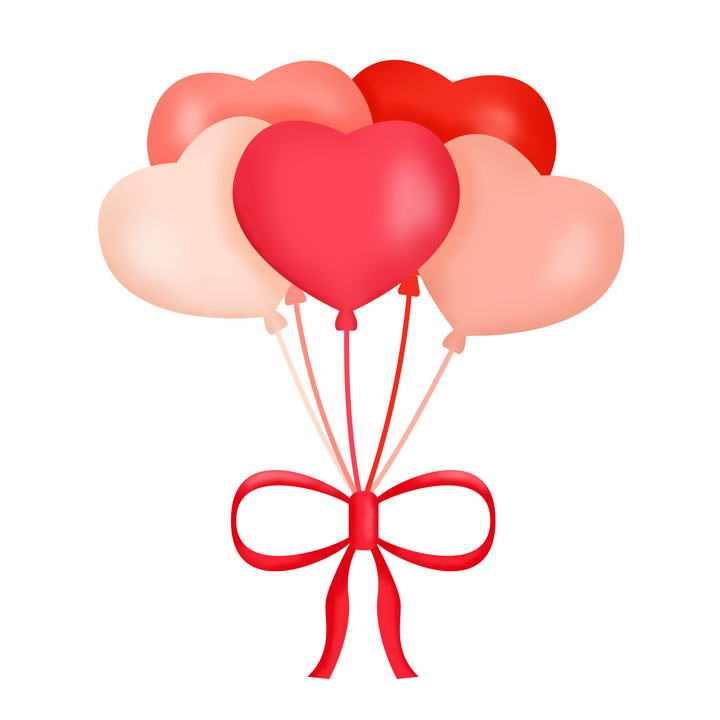 被蝴蝶结绑在一起的粉色红色爱心图案心形气球图片免抠素材
