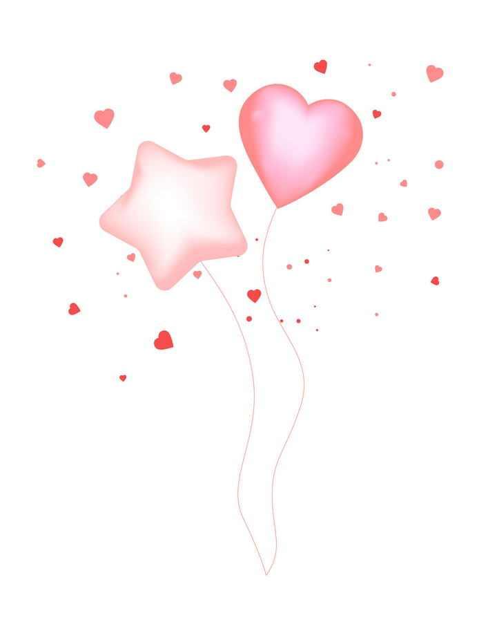 粉色五角星心形图案气球图片装饰素材