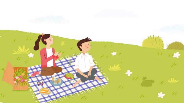 手绘插画风格春天郊游春游在草地上野炊情侣图片免抠素材