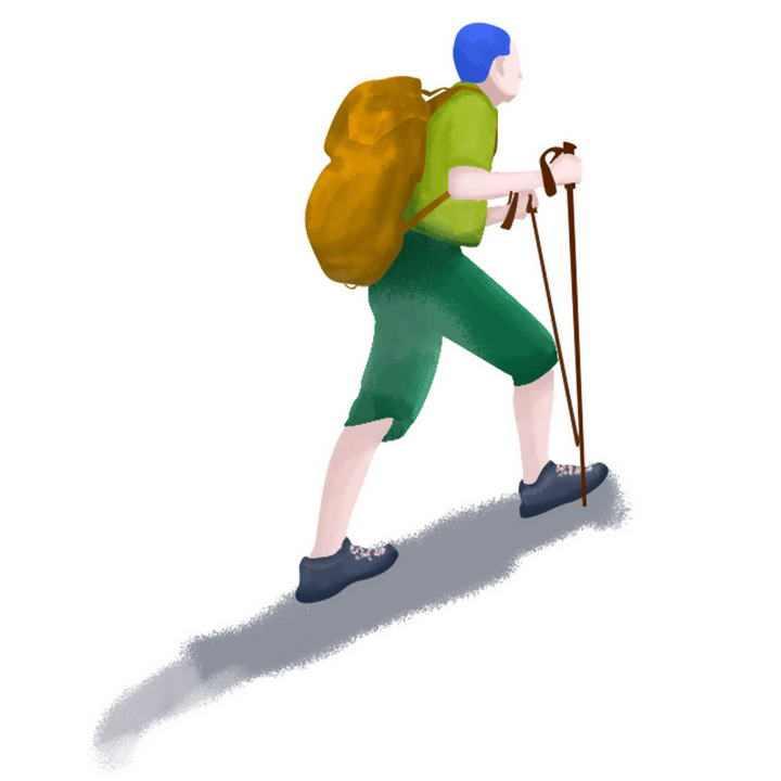 手绘风格正在爬山户外运动的年轻人图片免抠素材