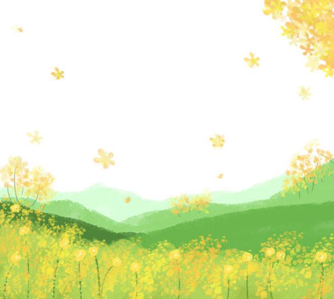 春天青山和油菜花png图片装饰素材