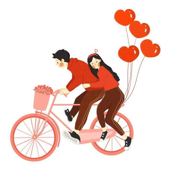 骑自行车的情侣和爱心气球图片免抠素材