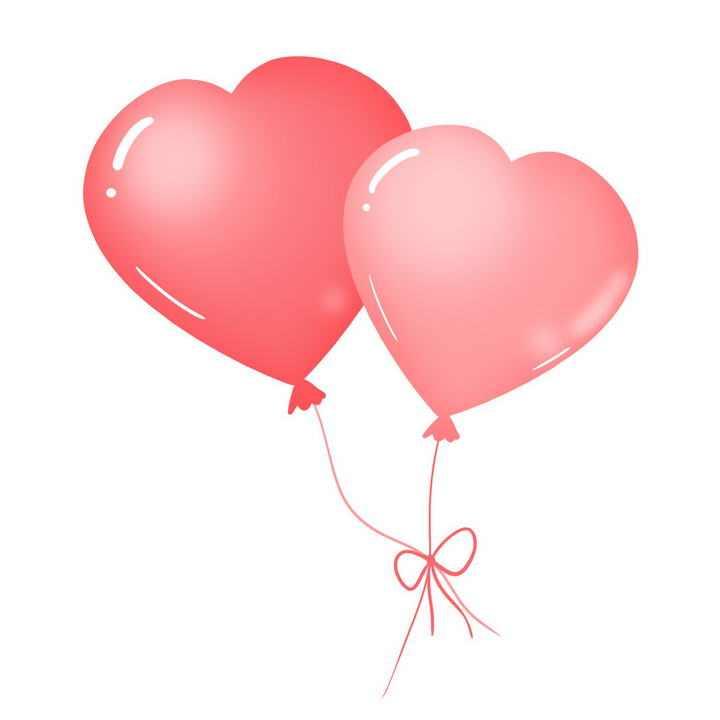 两个红色心形图案气球图片免抠素材