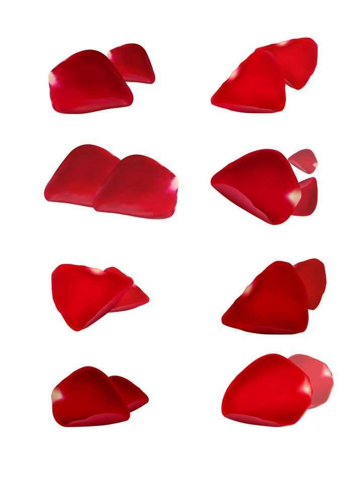 八款不同造型的红色玫瑰花花瓣装饰素材