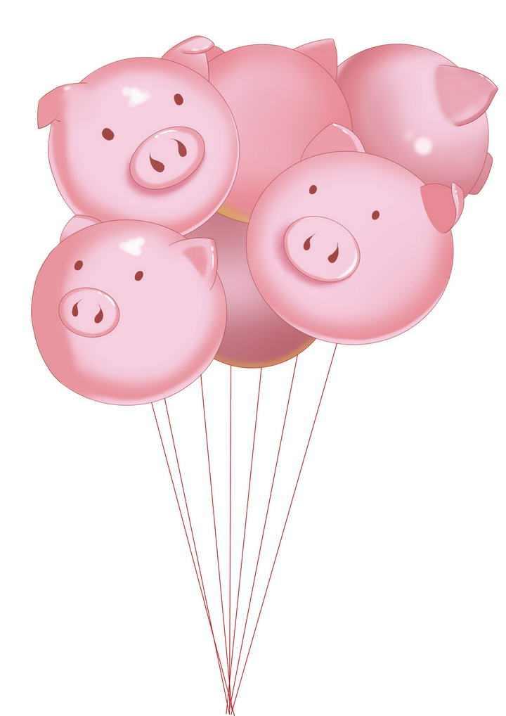 可爱卡通风格猪头小猪猪气球图片免抠素材