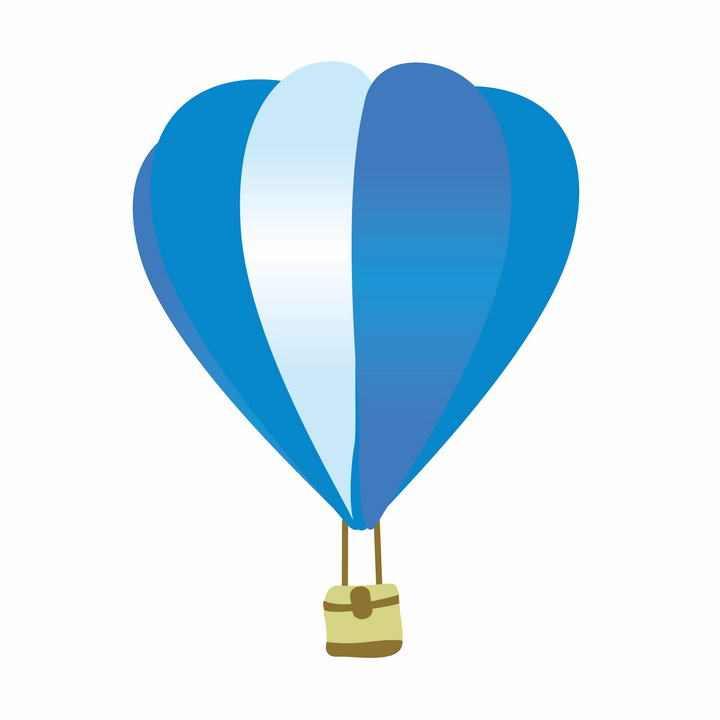 手绘简单蓝色白色相间的热气球图片免抠素材