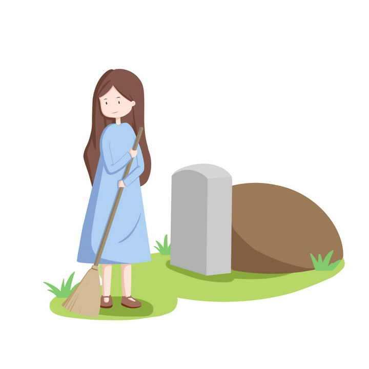 手绘卡通风格扫墓的女孩清明节祭祖图片免抠素材