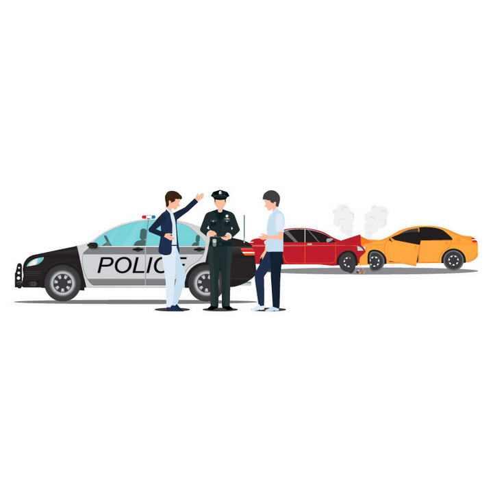 卡通风格车祸现场交警处理示意图交通安全png图片免抠素材