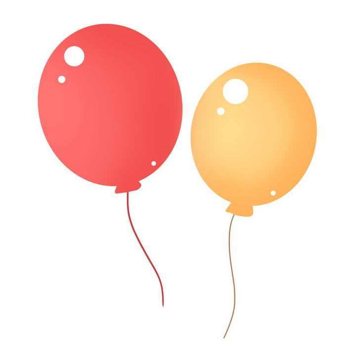 简约手绘风格红色橙色气球图片免抠素材