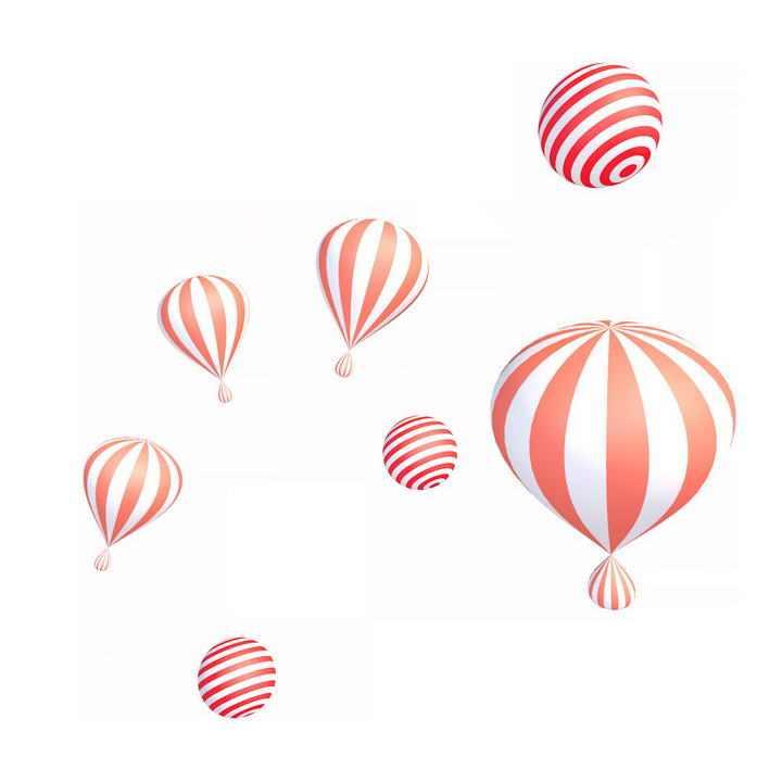 各种红色条纹气球圆球装饰图片免抠素材