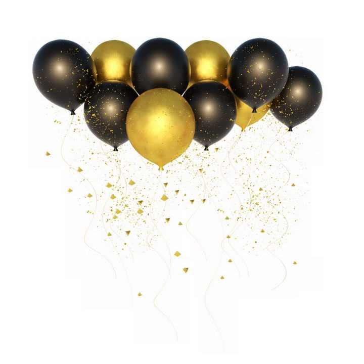 大量黑色金色的气球图片免抠素材