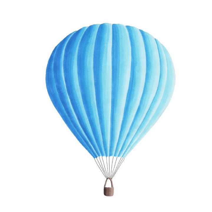 蓝色手绘风格热气球图片免抠素材