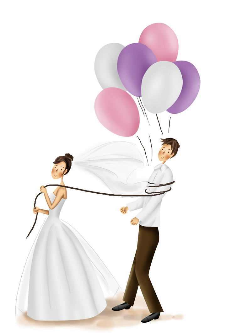 创意手绘插画风格新娘新郎告白气球图片结婚婚礼免抠素材