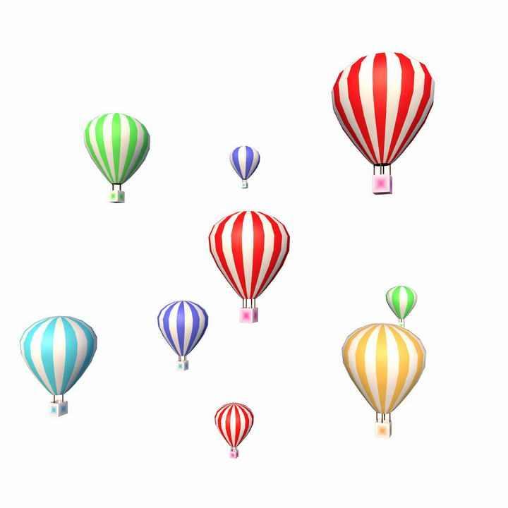各种条纹热气球装饰图片免抠素材