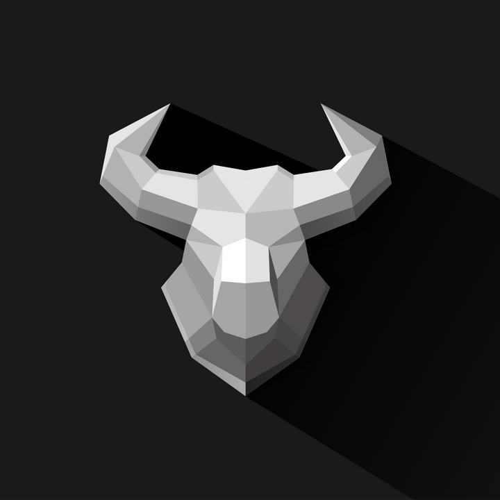 低面建模LOW-POLY风格多边形牛头模型图片免抠素材