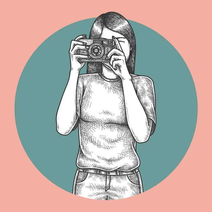 手绘素描铅笔画风格拍照的女孩图片免抠素材