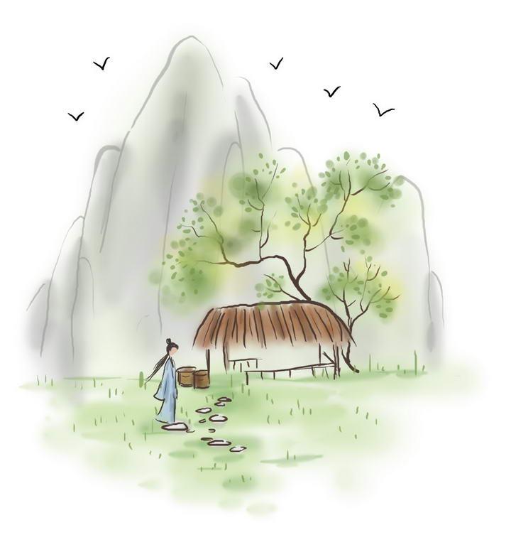 中国风彩色水墨画风格山脚的草屋和古装女子图片免抠素材