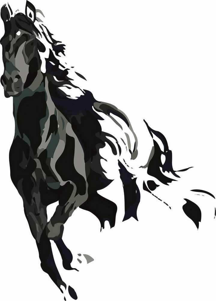 黑色泼墨风格涂鸦奔跑的骏马图片png免抠素材