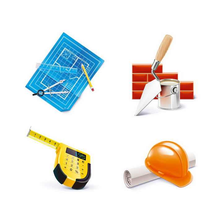 四款建筑图纸设计蓝图卷尺安全帽等建筑行业图片png免抠素材