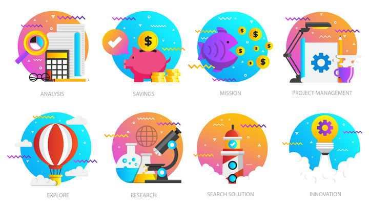 八款波普风格金融科学研究插画配图素材合集