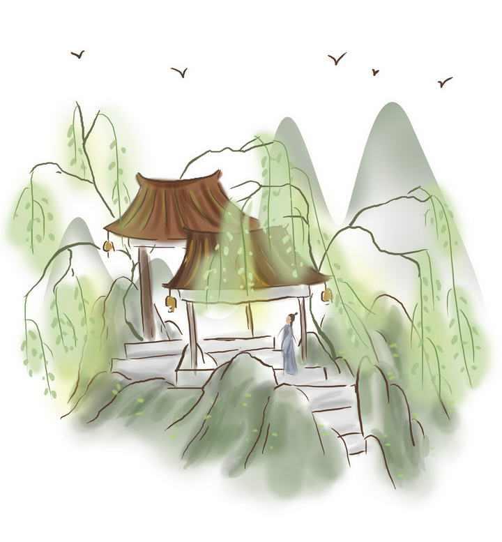 中国风彩色水墨画风格春天在山间亭子中观赏风景的古装男子图片免抠素材