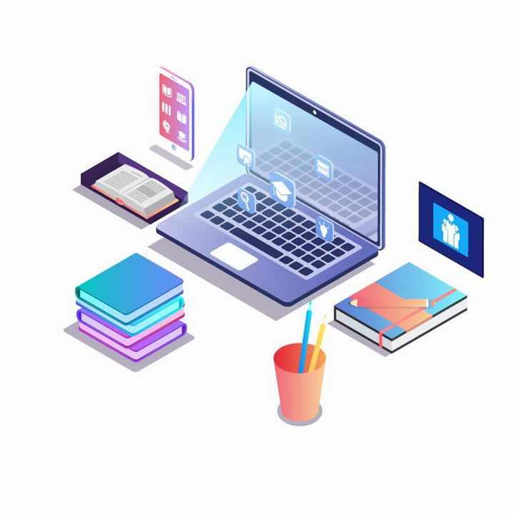 2.5D立体等距风格笔记本电脑手机记事本商务图片免抠素材