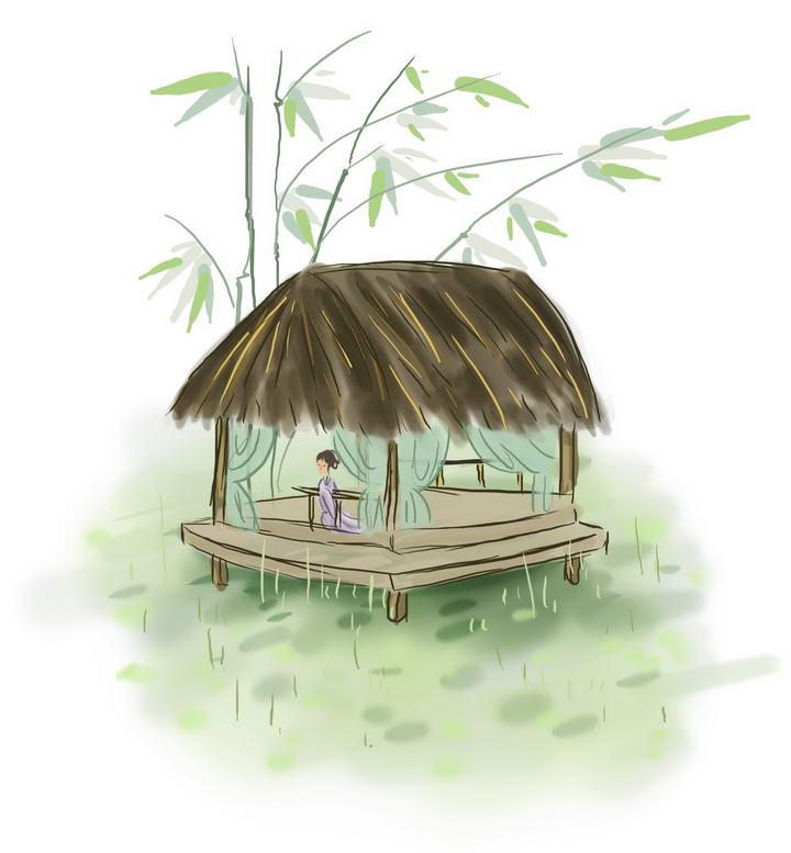 中国风彩色水墨画风格春天草屋顶的少女樱花荷塘风景图图片免抠素材