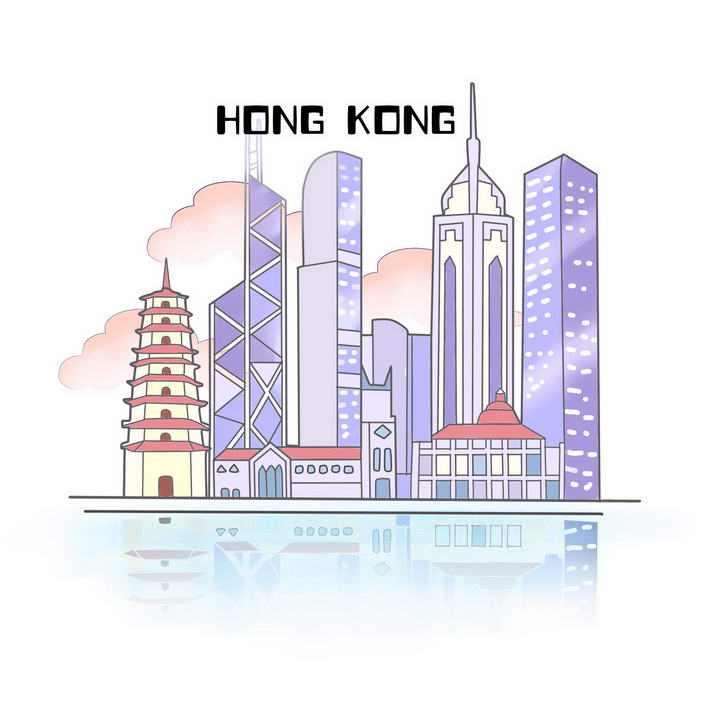 简约手绘风格香港城市地标建筑旅游图片免抠素材