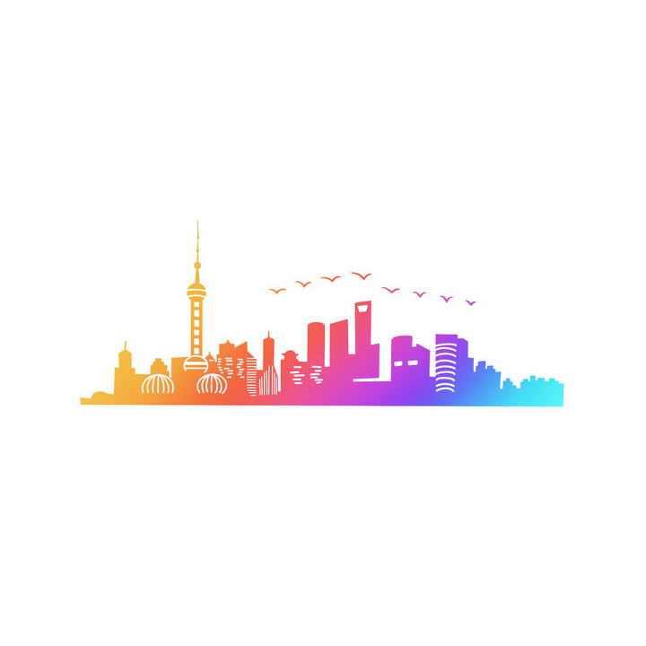渐变色风格上海天际线城市地标建筑剪影图片免抠素材