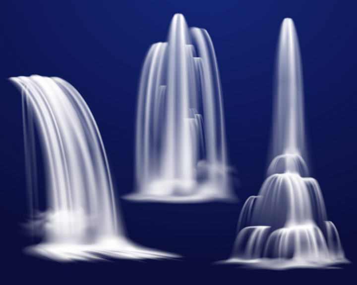 三款瀑布水流样式图片免抠素材