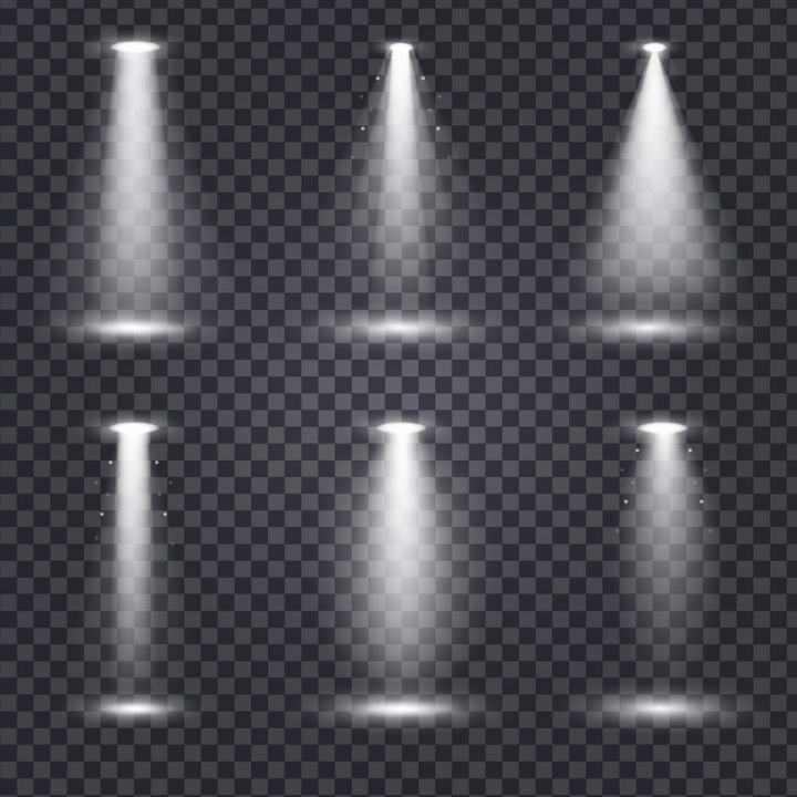 六款舞台灯光照射效果图片免抠透明背景素材