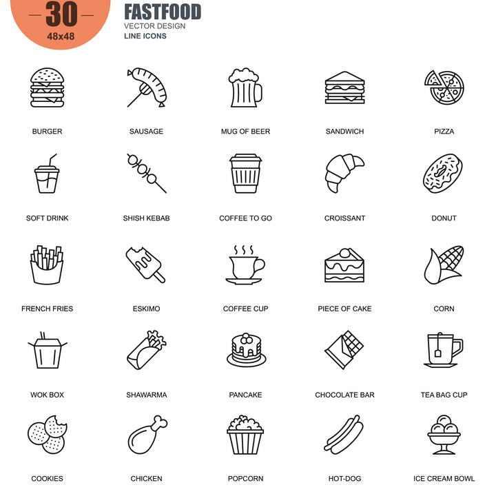 手绘线条风格各类汉堡美食类icon图标图片免抠素材合集