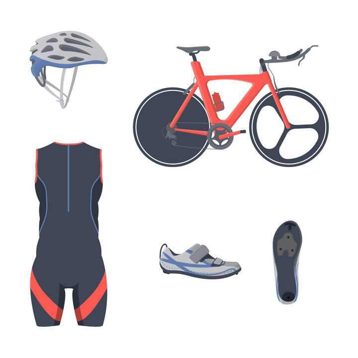 头盔自行车运动鞋等场地自行车赛运动装备图片免抠素材