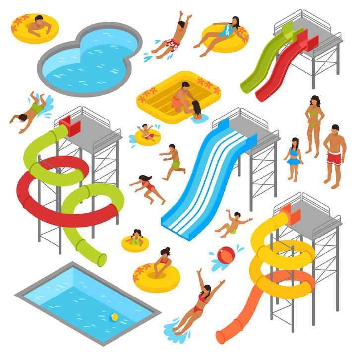 各种滑滑梯游泳池等夏天游乐场设施图片免抠素材