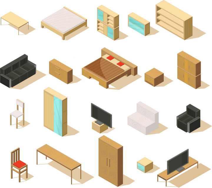 床头柜木床沙发电视柜等2.5D风格家具图片免抠素材
