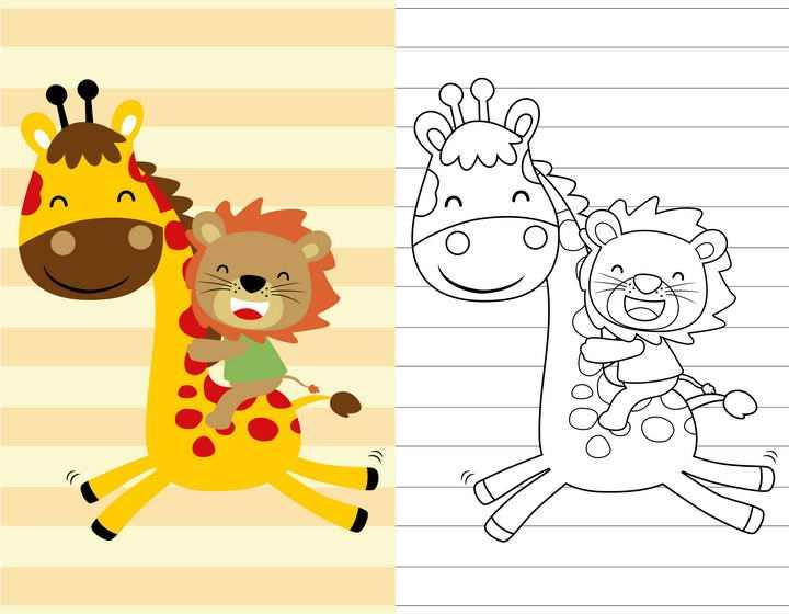 线条涂色对比动物简笔画长颈鹿和狮子图片免抠素材