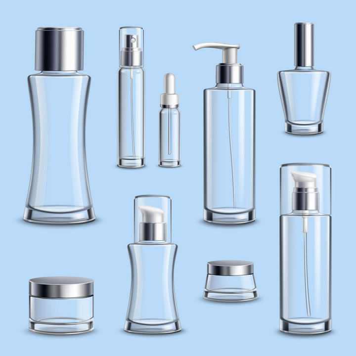 各种各样的透明瓶身的化妆品瓶子图片免抠素材合集