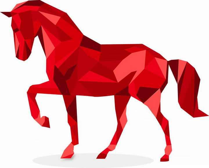 红色多边形组成的骏马图片png免抠素材