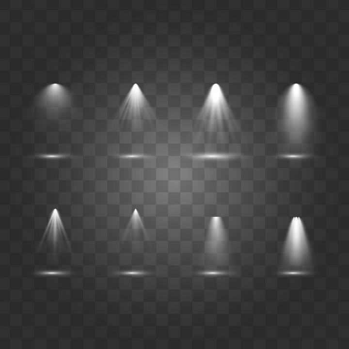 八款逼真的离散的灯光效果图片免抠素材