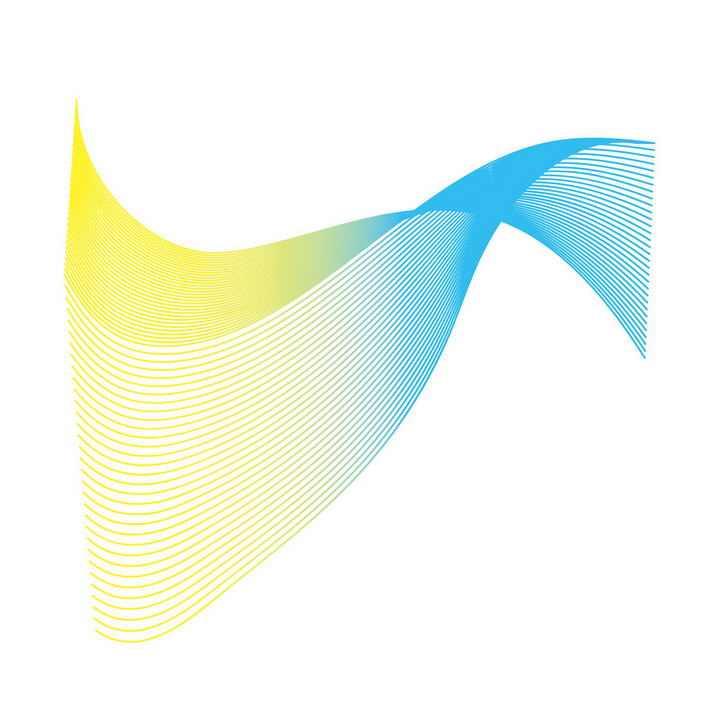 蓝色绿色渐变色曲线线条装饰图案图片免抠素材