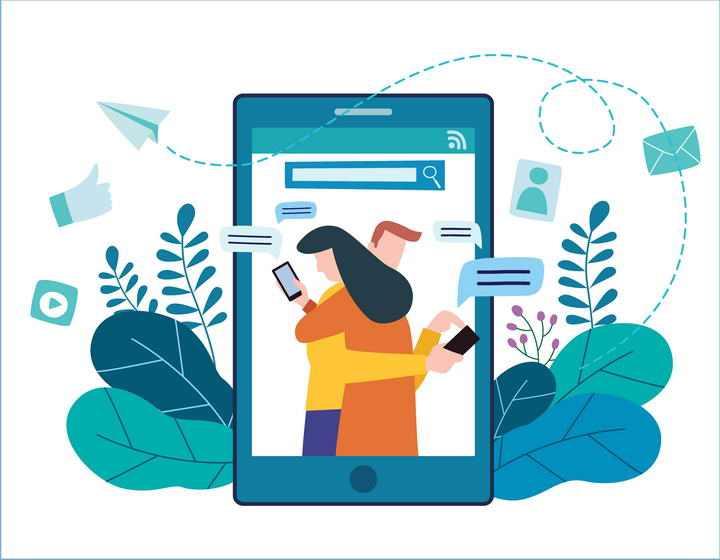 扁平化插画风格拥抱在一起的情侣在玩手机配图图片免抠素材