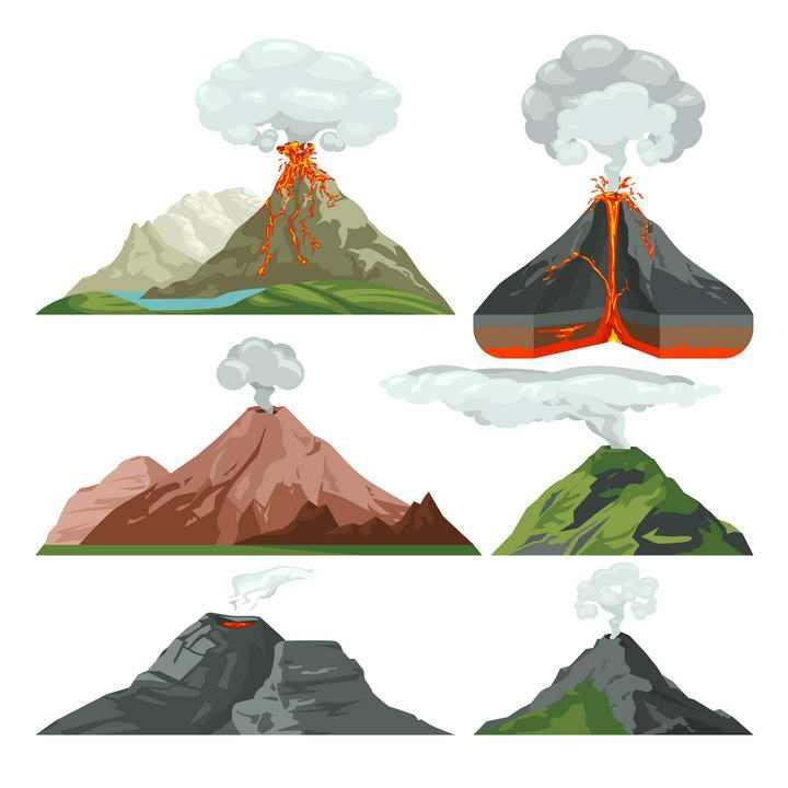 六款各种形态的火山喷发示意图地理地质图片免抠素材
