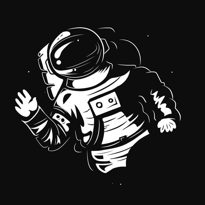 白色手绘风格挥手的宇航员简笔画图片免抠素材