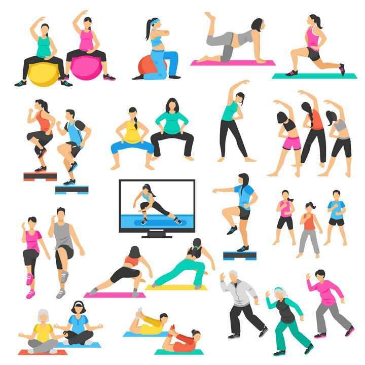 健身球瑜伽等扁平化健身图片免抠素材