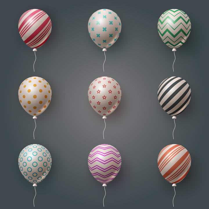 九款彩色条纹斑点星星装饰的气球图片png免抠素材