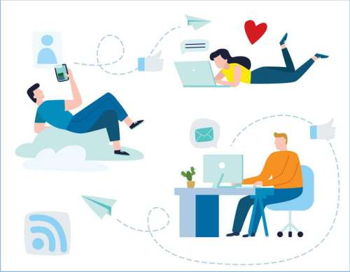 三款扁平化插画风格用电脑的年轻人配图素材