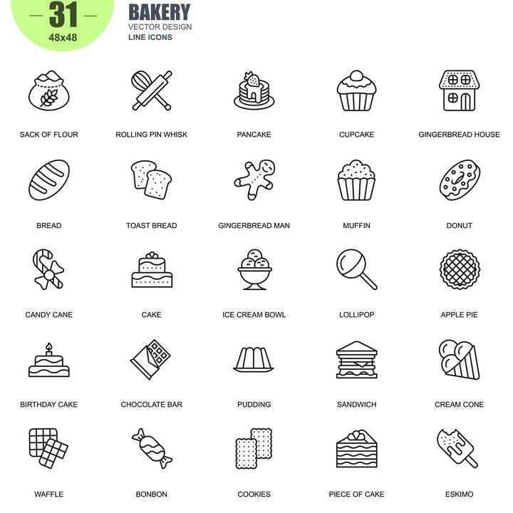 手绘线条风格各类蛋糕美食类icon图标图片免抠素材合集