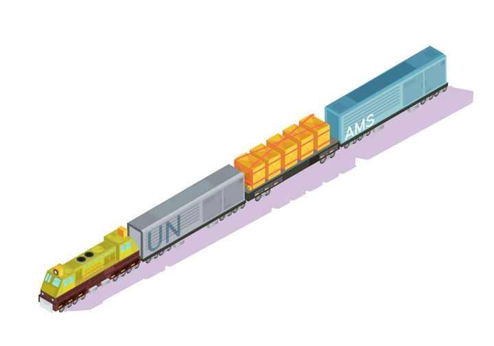 2.5D效果的拉满货物的货运火车图片免抠素材