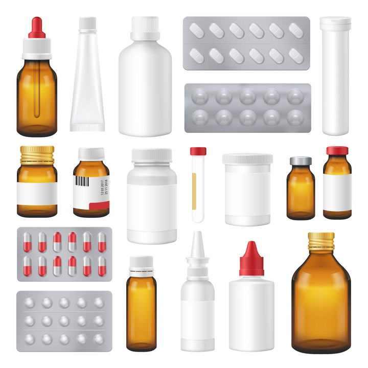 药水瓶药片胶囊等各种各样的医疗用品图片免抠素材合集