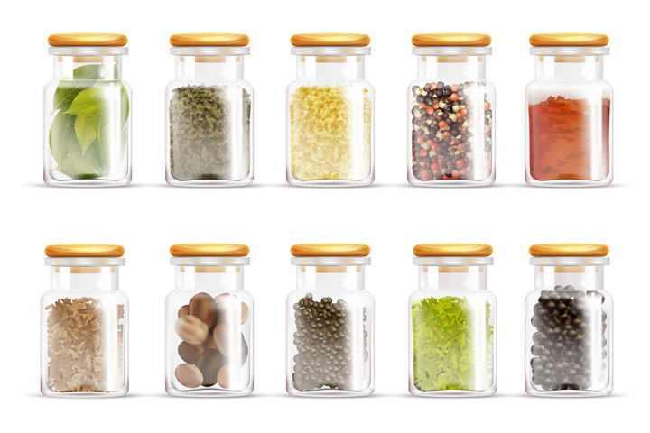 10款装在玻璃瓶中的各种零食图片免抠素材